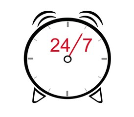 Opening hours on the alarm clock - 24 hours 7 day