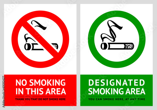 No smoking and Smoking area labels - Set 3