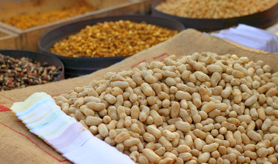 Road side nuts market or Southeast Asia