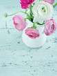 Pastel color flowers on shabby chic background