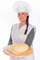 backer with bread dough