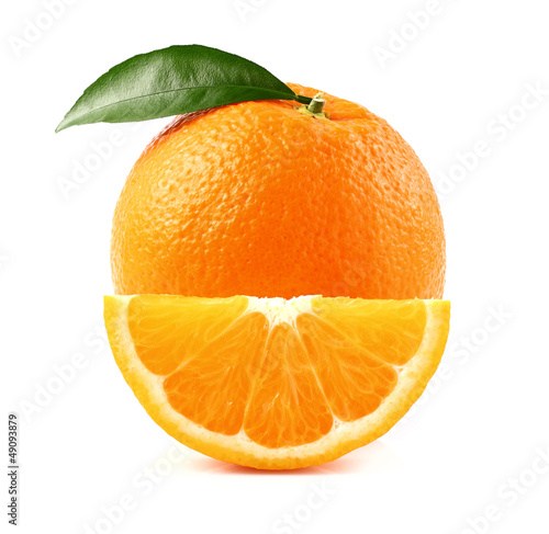 Juicy orange with slice