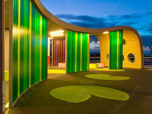 Green colored waiting area