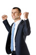 Happy businessman with fists up, isolated on white
