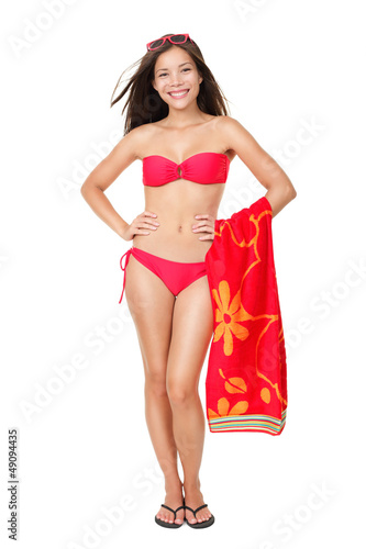 Bikini vacation holidays woman standing isolated