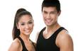 Portrait of two sportive people in black sportswear, isolated