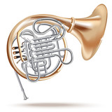 Classical French horn - Vector illustration