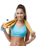 Sportive woman with bottle of water and yellow towel