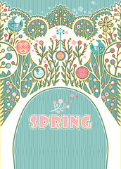 Spring card. Decorative card with arch and beautiful trees.