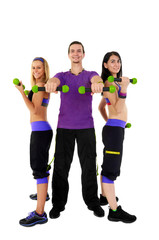 Young Fitness Instructors against white background