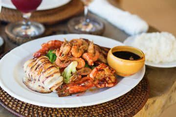Delicious grilled squid with seafood