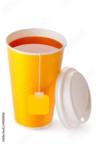 Take-out teacup with teabag