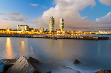 Coastline of Barcelona at sunset, Spain