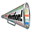 Attention Bullhorn Megaphone Sends Warning Message
