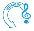 musique sur symbole bleu