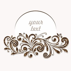 Vintage floral frame. Calligraphic Elements for design.