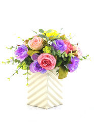 Colorful Artificial Flower Arrangement on white background