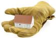 gant de chantier, main tendue, offrant une maison