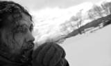 Homeless man b/w portrait