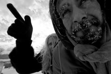 Freezing homeless couple