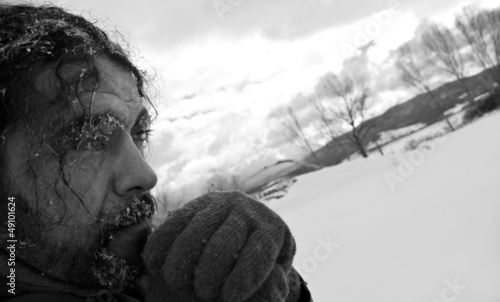 Homeless man b/w portrait