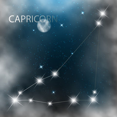 Constellation sign bright stars in cosmos