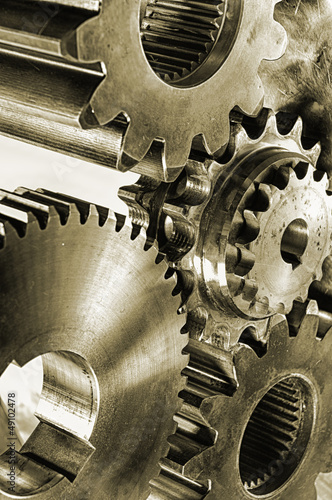 gears and coigs in old fashioned brownish look