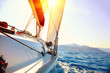 Yacht Sailing against sunset. Sailboat. Yachting. Sailing - 49103287