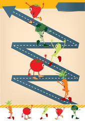 Road going up as an arrow With Cartoon Fruits