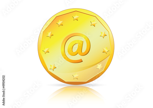 Mail, Online transaction, e-commerce - @ symbol on Gold Coin.