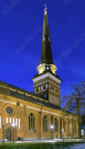 Vasteras Cathedral in winter evening, Sweden