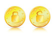 Security-financial, transaction & partnership on a gold coin
