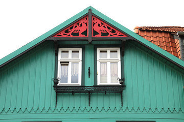 Schöner Giebel eines Holzhauses in Wernigerode