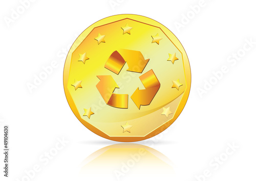 Recycle Economy � Recycle symbol on Gold Coin