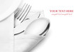 Knife, fork and spoon with linen serviette. - 49105221