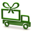 Illustration of green truck with big gift