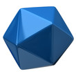 Illustration of blue geometric figure. Icosahedron