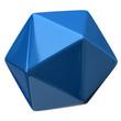 Illustration of blue geometric figure. Icosahedron