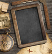 Vintage treasure map, blackboard with copyspace, old compass sti