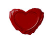 Red wax seal in shape of heart isolated on white