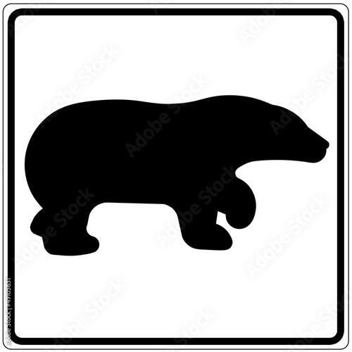 Schild weiß - Bär