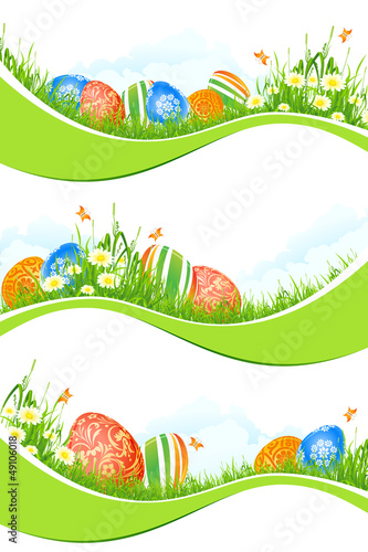 Easter Banners Set Isolated on White