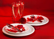 Red festive table setting
