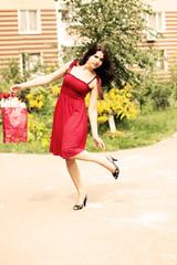 Lovely woman, summer shopping