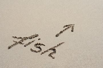 Fish handwritten in sand