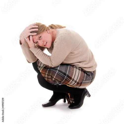 Frau überfordert, gemobbt, gestresst