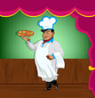 Funny Chef and italian pizza.Best food for gourmet.Vector