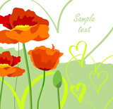 Greeting card with poppies and hearts