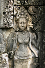 Apsara bas relief at Bayon temple, Cambodia