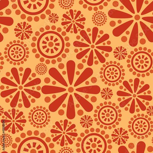 Materiał do szycia Seamless background of flowers and geometric ornament